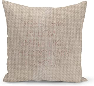 Sleepy Funny Quote Beige Linen Pillow with Electric Rose Gold Foil Print Does this pillow smell Sofa Pillow