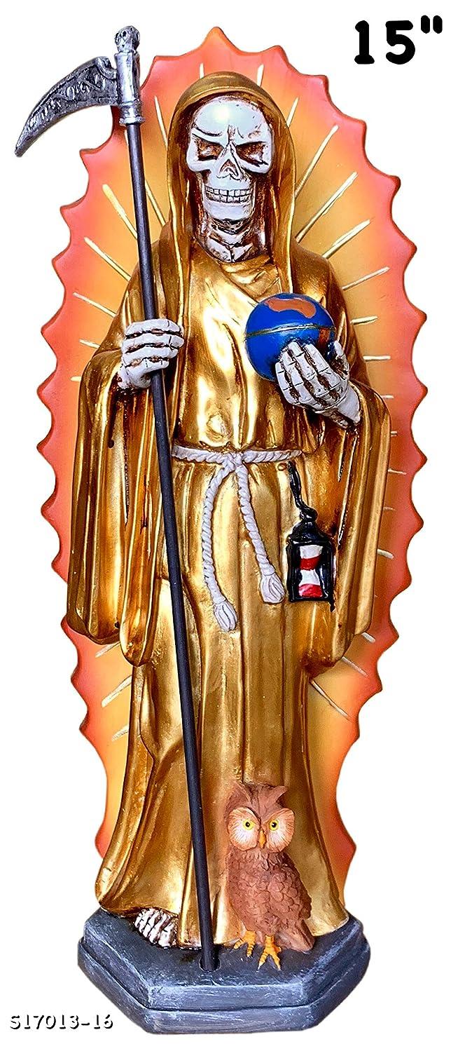 数突き刺すりんごSanta Muerte 15インチ 像 聖デス 死神 スカル 骸骨