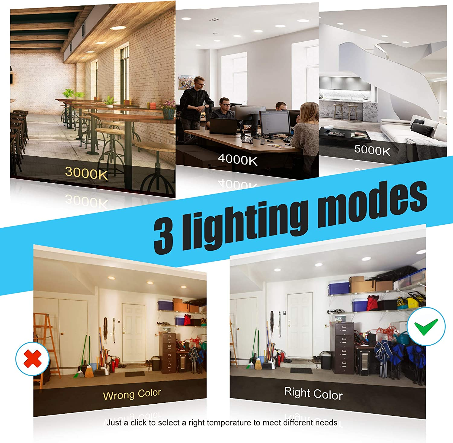 Dimmable Ensenior 12 Pack 4 Inch Ultra-Thin LED Recessed Ceiling Light with Junction Box 750LM High Brightness 3000K//4000K//5000K 3CCT White 9W 75W Eqv ETL and Energy Star Certified