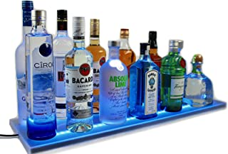 Armana Productions 2` LED Lighted Double Wide Liquor Shelves Bottle Display - Includes Wireless Remote Control