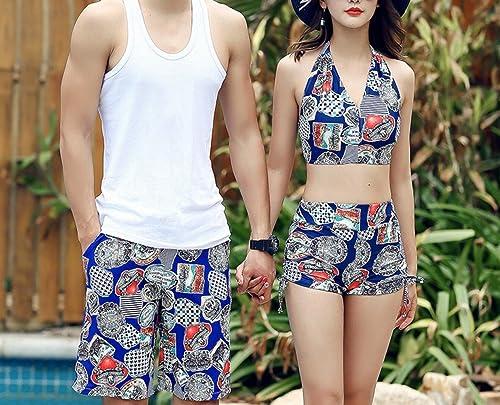 HOMEE Couples Maillot de Bain Jupe Split Bikini courtes de Plage, Bleu,M