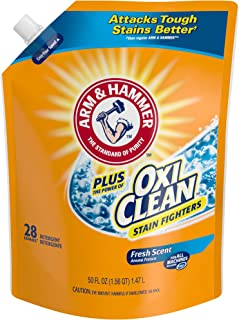 ARM & HAMMER Plus OxiClean Fresh Scent HE Liquid Laundry Detergent Easy-Pour Pouch, Pack of three 50 oz. pouches, 84 total loads