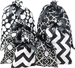 6 PCs Christmas Fabric Gift Bags Black Elegant Color with 3 Sizes for Christmas Season, Gift Giving, Holiday Presents Déco...