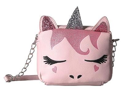 OMG! Accessories Striped Unicorn Critter Crossbody (Pink) Cross Body Handbags