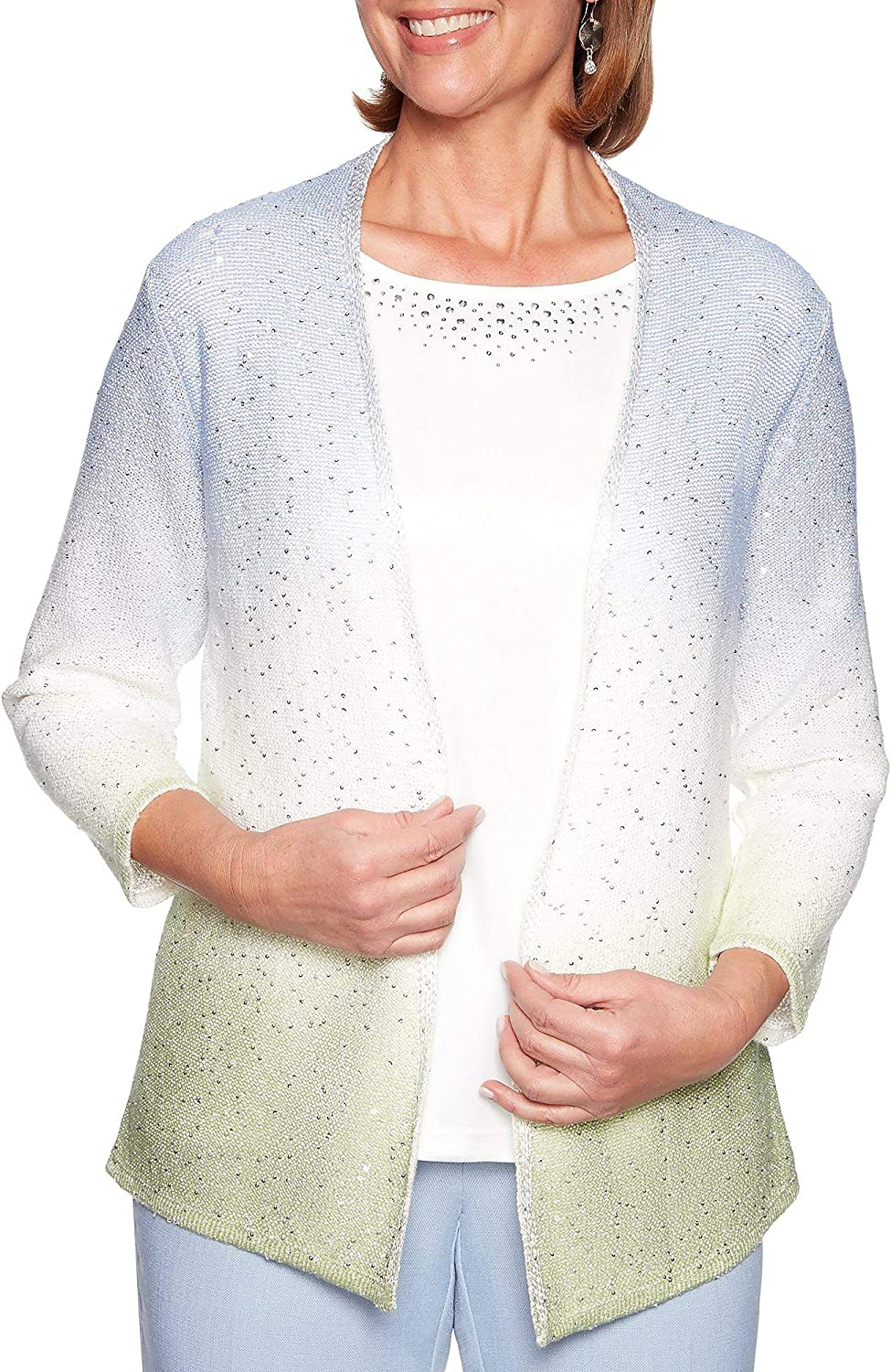 Alfred Dunner Women's South Hampton Sequin Ombre Two for One Sweater