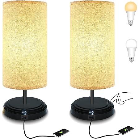 Lámpara de mesita de noche regulable con control táctil, lámpara LED BRTLX con puerto de carga USB y toma de corriente, lámpara de mesa con pantalla de tela para sala de estar, dormitorio, juego de 2 bombillas E26 de 6 W incluidas