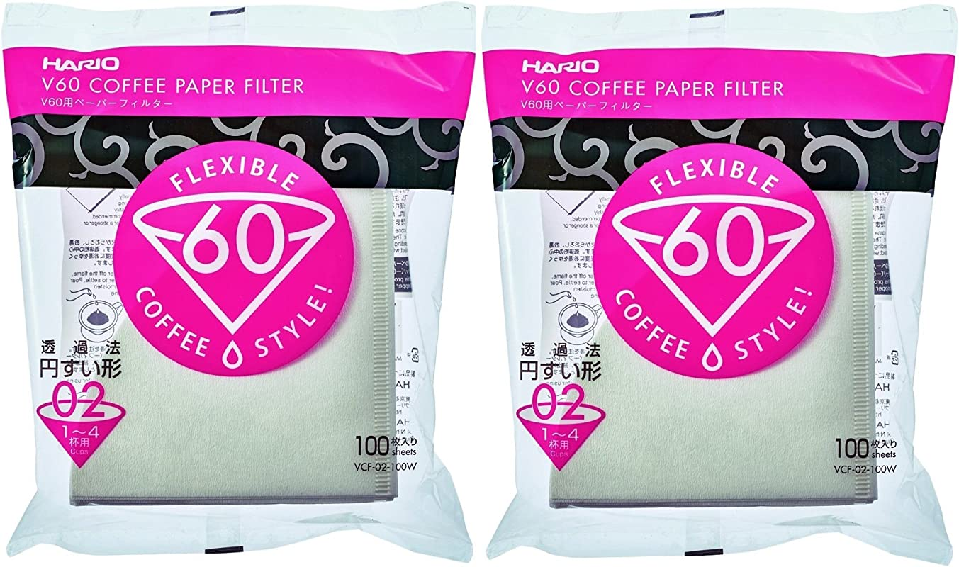 Hario V60 Paper Coffee Filters Size 02 White Tabbed 200 Count