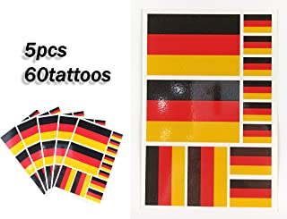 JBCD Germany Temporary Tattoos 60 Pcs German Flag Stickers Waterproof Tattoos National Flags Tattoo Patriotic Face Tattoos, Suitable for Sports Event Parties and Pride Decoration