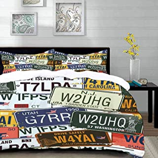 """bedding - Duvet Cover Set,Vintage,Original Retro Style License Plates Personalized Creative Travel Vacation,Hypoallergenic Microfibre Duvet Cover Set Queen/Full 90""""x90"""" with 2 Pillowcase 20"""" x 26"""""""