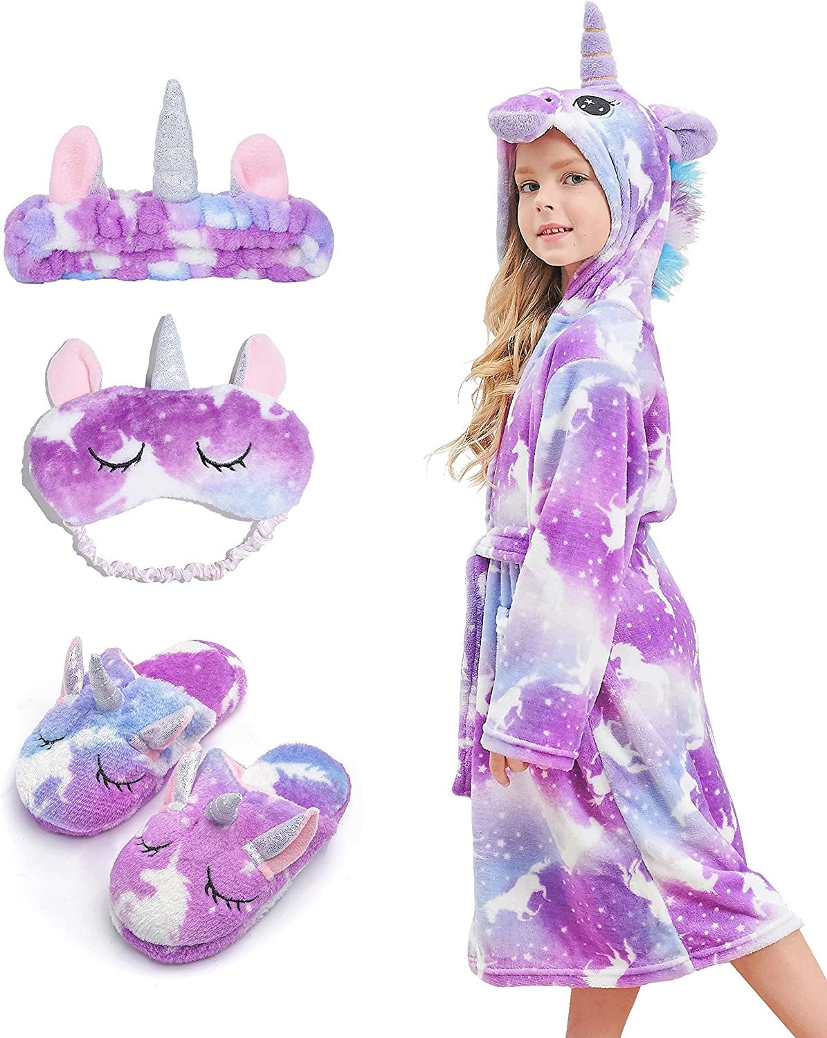 HulovoX Unicorn Hooded Max 54% OFF Bathrobe Matching Ranking TOP19 Slippers with