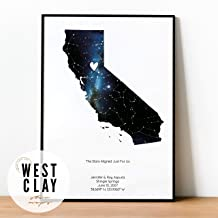 Personalized Star Constellation Map, State OR Country, Star Chart Gift, Wedding Guest Book Alternative, Custom Engagement Anniversary Birthday Present, Night Sky Poster with Frame