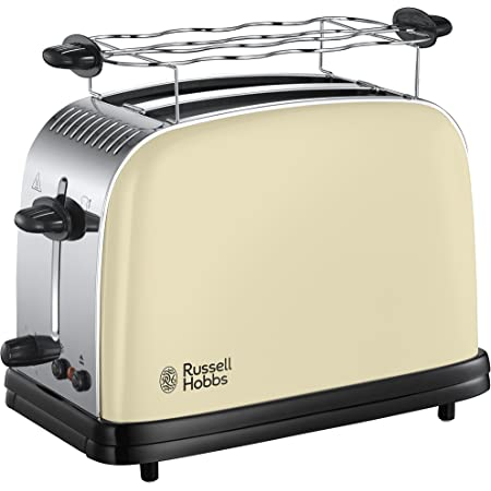 Russell Hobbs Toaster, Grille Pain Extra Large, Cuisson Rapide et Uniforme, Contrôle Brunissage, Chauffe Vionnoiserie - Crème 23334-56 Colours Plus