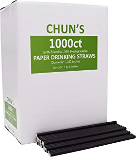 100% Biodegradable Solid Black Paper Drinking Straws Bulk -1000 count, 7.75 inch, for Cocktail, Cafe, Coffee Sip Straw and Restaurant by CHUN'S STORE