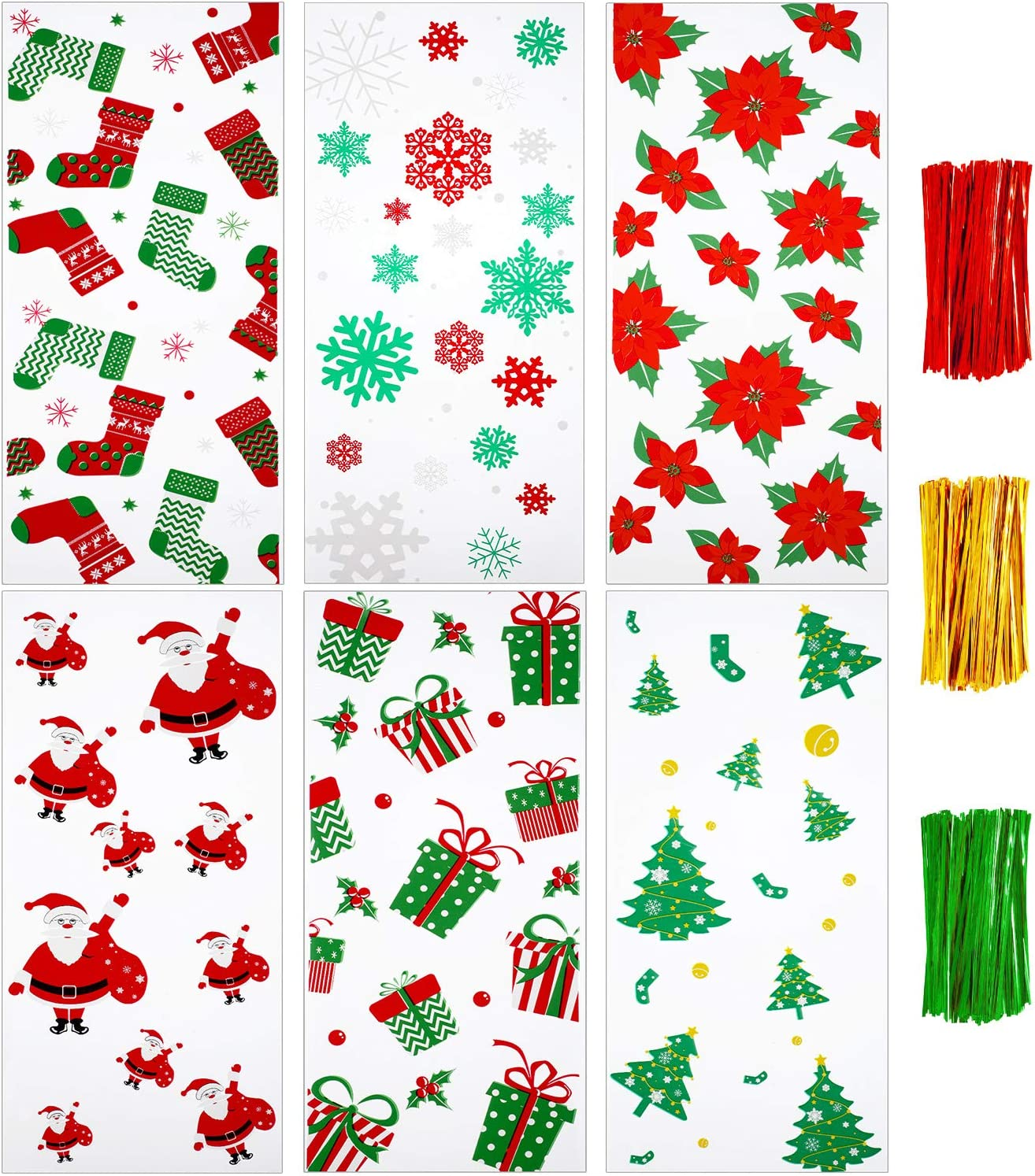 150 Pieces Christmas Cellophane Bags Clear Candy Cookies Treat Bags and 150 Pieces Twist Ties, 6