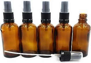 5 x de colour marrón con cristal de botella de 50 ml/botella pulverizadora incluido de colour negro y de bombeo de pulverizador de/sprayhead DIN 18 con ventana transparente de protección ***Calidad de la farmacia, hecho de después de la farmacopea Europea***