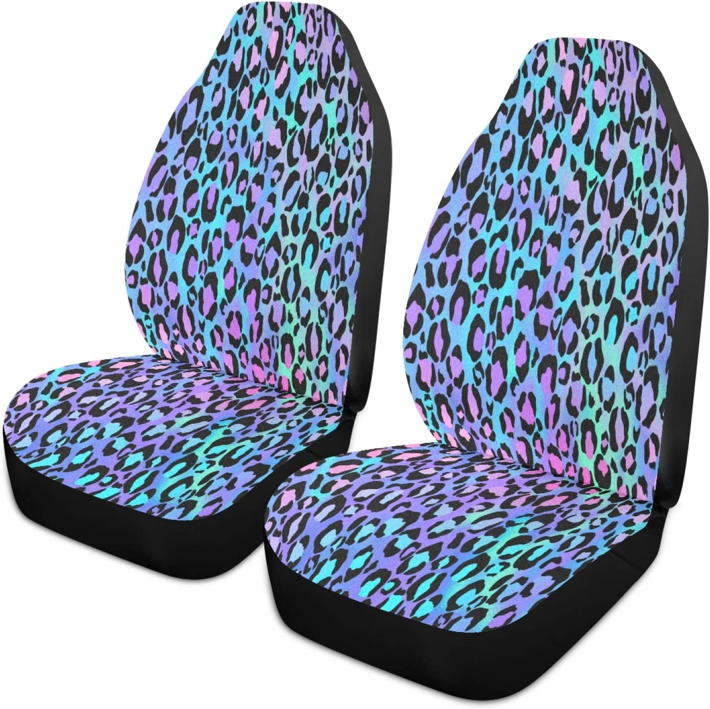 xigua 2PCS Fashion Latest item Easy-to-use Color Leopard Print Ant Front Seat Car Covers