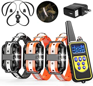 Veckle Dog Training Collar, 2019 Upgraded Rechargeable Shock Collar for 3 Dogs Waterproof Dog Shock Collar with Remote, Beep, LED Light, Vibration Dog Electronic Collar for Large and Medium Dogs