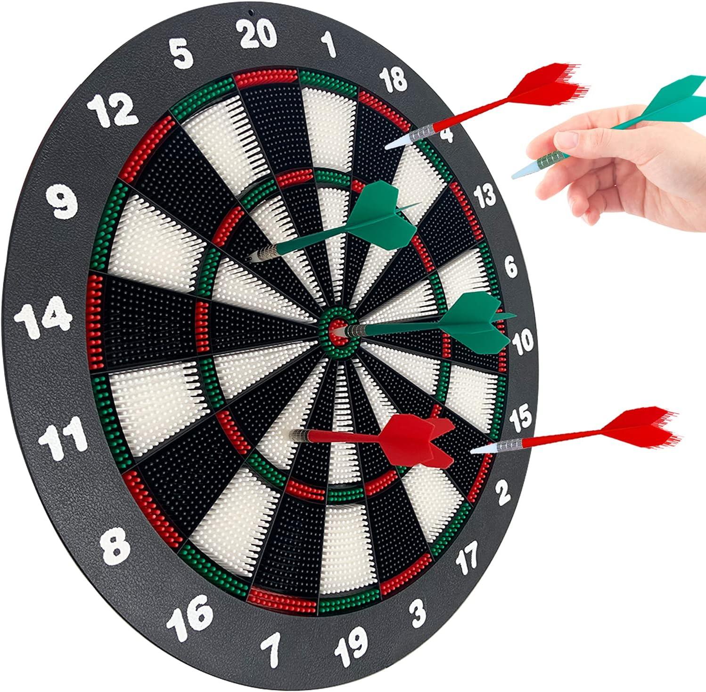 Stemclas 16.4-Inch Safety Dartboard Set with 6 Soft Tip Darts, G