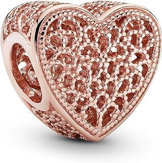 Pandora Femme Filigrane de Rose et Perles en Métal Coeur Charm 14 carats en Alliage de Métal Plaqué Or/Rose, 781811