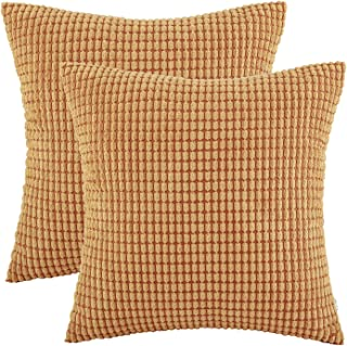 Ashler Set of 2 Soft Orange Corduroy Corn Stripped Both Sides Throw Pillow Cushion Cover 22 x 22 inch 55 x 55 cm