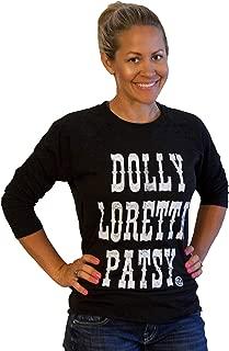 Womens Shirt Country Graphic Dolly Loretta Patsy BB Black/WH