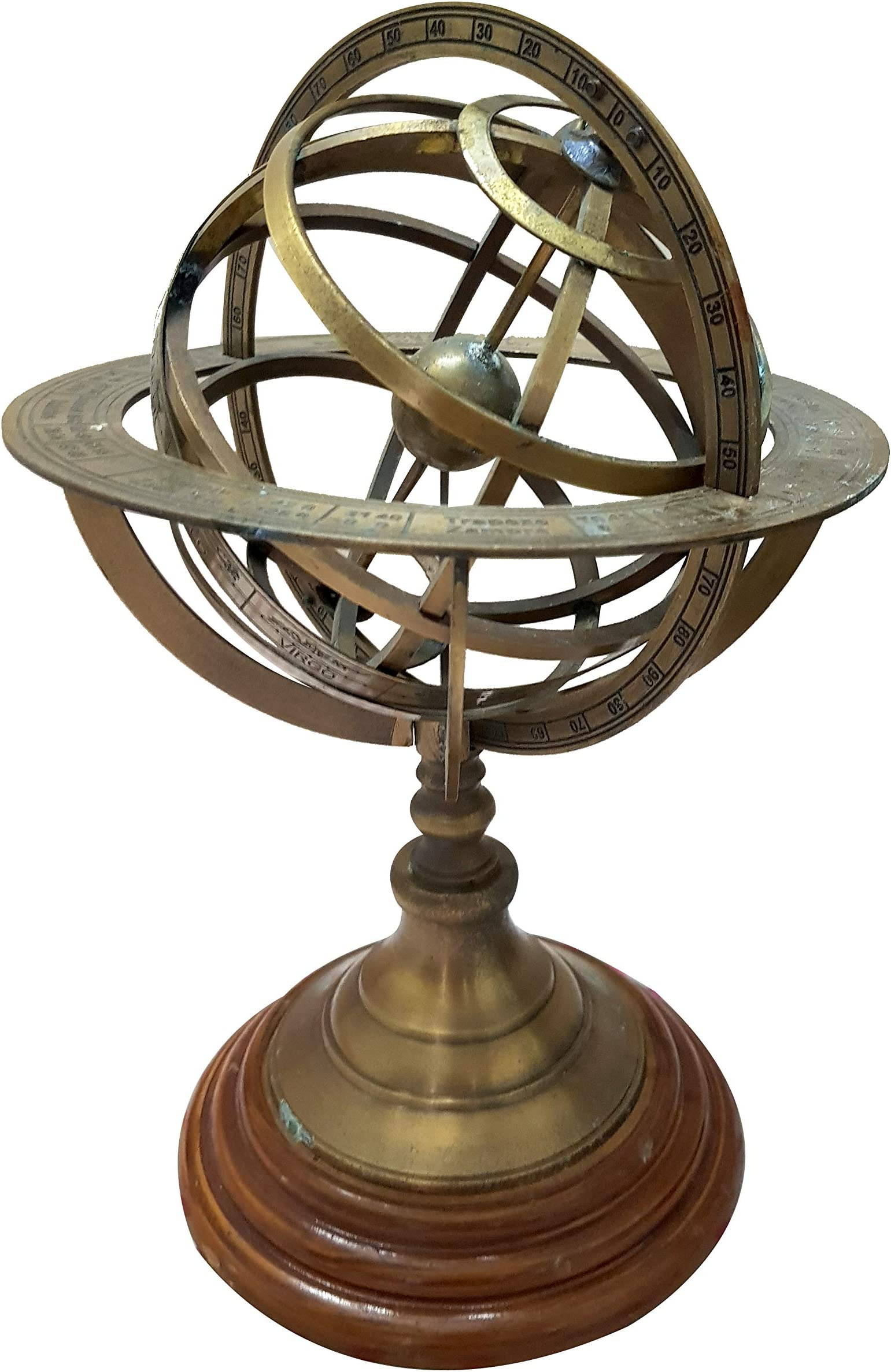 Brass Armillary Sphere Astrolabe On Wooden... THORINSTRUMENTS with device