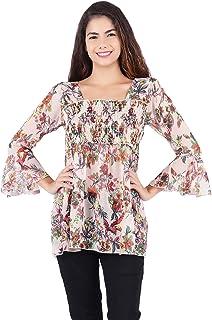67010d4a1f33a0 POPWINGS Casual Floral Print Square Neck Chiffon pom pom Cream Women top