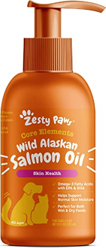 Zesty Paws Pure Wild Alaskan Salmon Oil for Dogs & Cats - Supports Joint Function, Immune & Heart Health - Omega 3 Li...