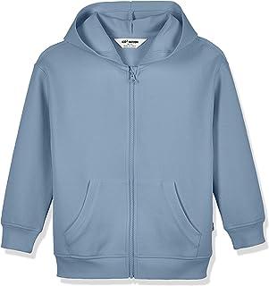 Kid Nation Kids' Cozy Interlock Zip-Up Hooded Sweatshirt Dropped Shoulder Hoodie for Boys and Girls,Age(4-12Years)