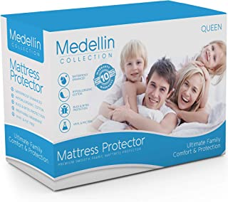 Medellin Collection Premium Hypoallergenic Waterproof Queen Mattress Protector - Vinyl Free…