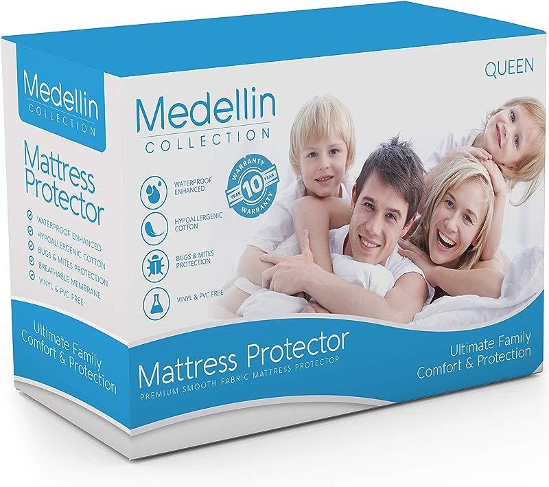 Medellin Collection Premium Hypoallergenic Waterproof Queen Mattress Protector Vinyl Free