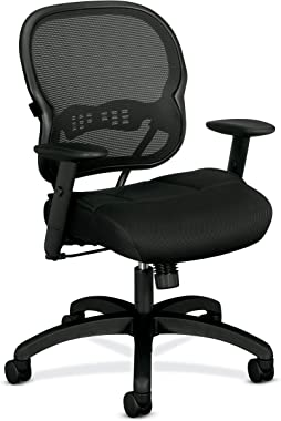 HON BSXVL712MM10 Wave Mid-Back Mesh Office or Computer Chair with Adjustable Arms, Black (VL712)