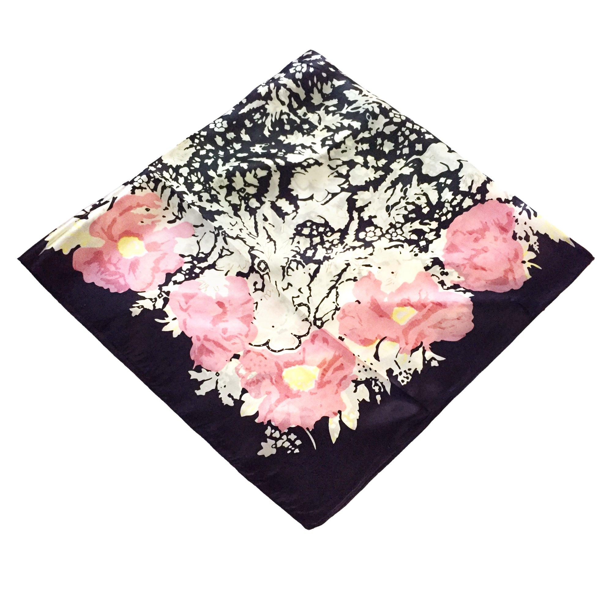 Women's Graphic Print 100% Silk, Silk Scarf Square, 33X33 Inches