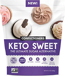 KETO:SWEET Ultimate Sugar Alternative, 100% Natural Erythritol - Confectioners In Resealable Bag, 12 Ounce (Pack of 1)