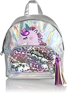 Holographic Unicorn Vegan Leather Casual Daypack Bag- Mini Cute Glitter Sequin Design Women's Travel Backpack or School Bag with Tassel