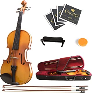 Mendini 3/4 MV400 Ebony Fitted Solid Wood Violin with Hard Case, Shoulder Rest, Bow, Rosin, Extra Bridge and Strings