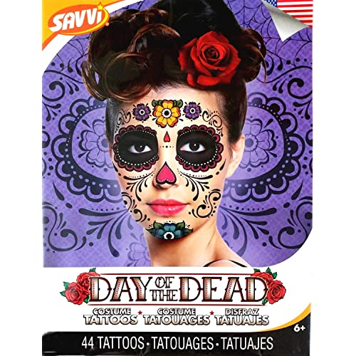 4ba76c2a10bfe Floral Day of the Dead Sugar Skull Temporary Face Tattoo Kit