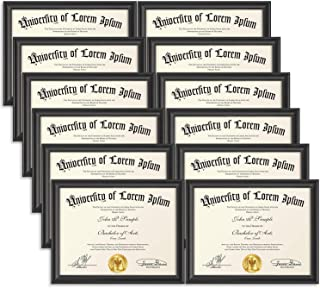 Icona Bay 8.5x11 Document Frame (12 Pack, Black), Black Certificate Frame 8.5 x 11, Composite Wood Diploma Frame for Walls or Tables, Set of 12 Lakeland Collection