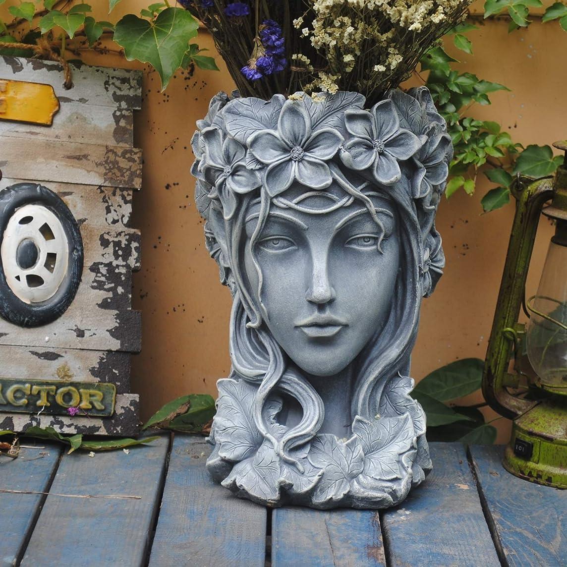 市場底土器JBMY ギリシャの女神ヘッドフラワーポット大口径クリエイティブ大きなジューシーな花は、北欧のビーナス像バルコニー装飾スタンド (Color : Gray)