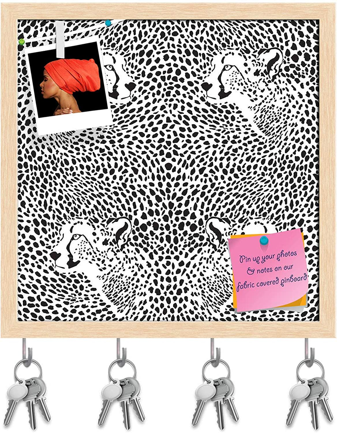 Artzfolio Cheetah Key Holder Hooks   Notice Pin Board   Natural Brown Frame 20 X 20Inch