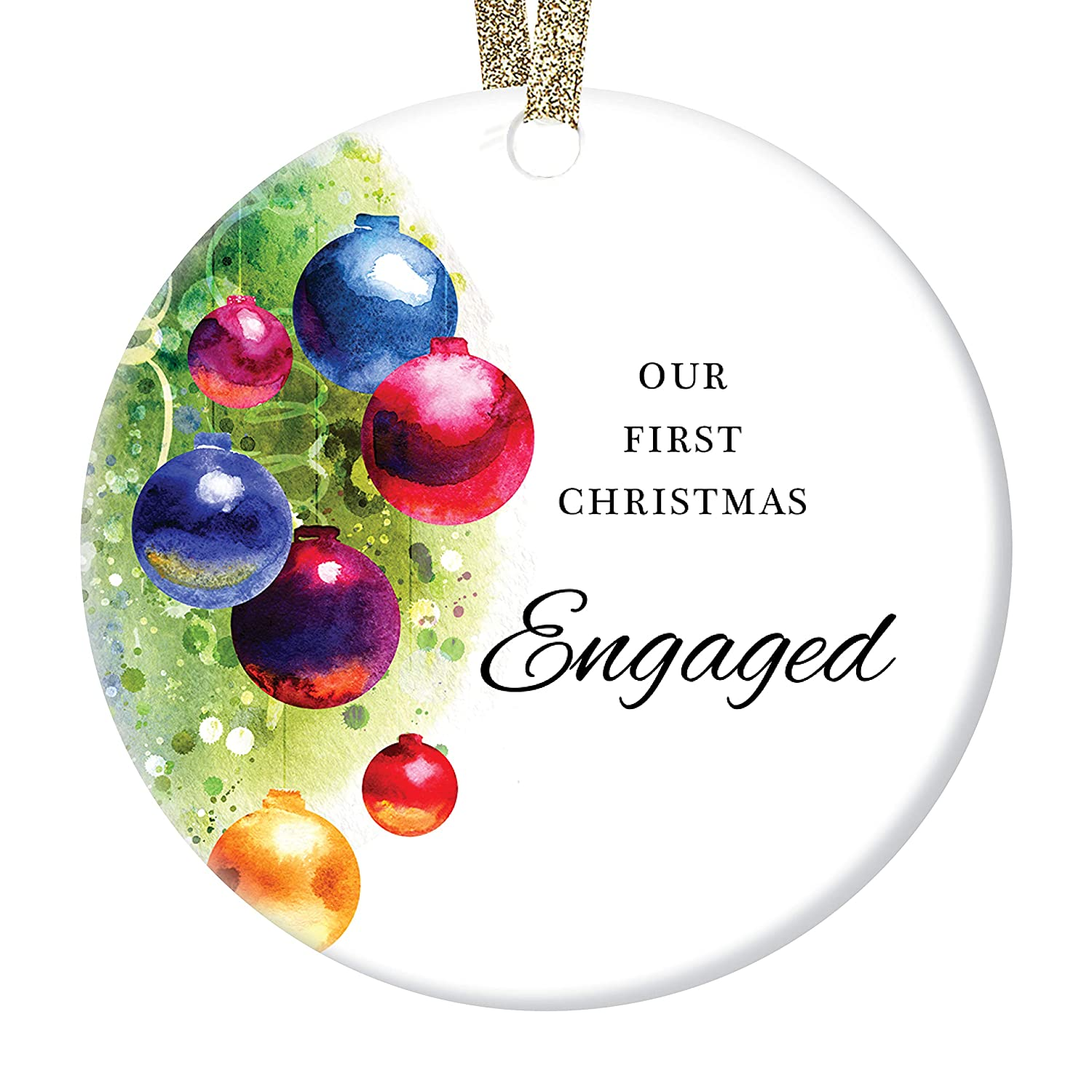 DIGIBUDDHA Super intense SALE Our 1st Christmas Engaged Ornament Pretty First Holid Max 69% OFF