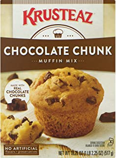Krusteaz Chocolate Chunk Muffin Mix - No Artificial Flavors/Preservatives - 18.25 OZ Box (Pack of 2)