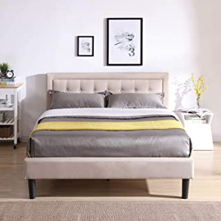 Mornington Upholstered Platform Bed | Headboard and Metal Frame with Wood Slat Support | Linen, King