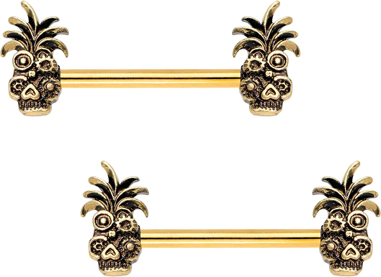Body Candy PVD Steel Juicy Pineapple Barbell Nipple Ring Set of 2 14 Gauge 9/16