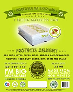1 Queen or Full Mattress Bag- Fits All Queen and Full Size: Fits All Pillow Tops and Box Springs. Eco-friendly, Bio Degradable, Bed Bug Mattress Bag- Ideal for Protection When Moving, Storage and Transportation. Proudly Made in America!