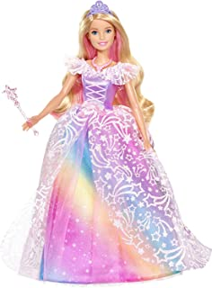 Barbie Dreamtopia Royal Ball Princess Doll, Blonde Wearing Glittery Rainbow Ball Gown, with Brush and 5 Accessories, Gift for 3 to 7 Year Olds