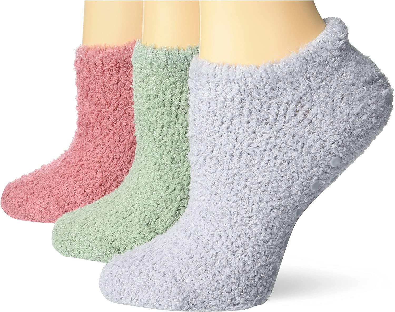 No Nonsense Women's Shortie Slipper Sock, 3 Pair Pack, Violet Grey/Cameo/Agave, 4-10