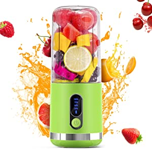 Portable Blender, 450ml Personal Size Blender for Shakes and Smoothies, 2*2000mAh USB Rechargeable Mini Smoothie Blender Mixer with 6 3D Blades and LED Display Juicer Cup for Sports Travel Home Office