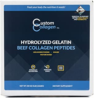 Collagen Peptides Powder 5lb (80oz) Box - Clean Collagen® - Unflavored, Grass Fed, Paleo, Non GMO, Kosher - Highly Soluble Protein