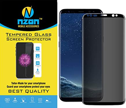 nzon™ Galaxy S9 Plus Privacy Screen Protector, S9 Plus [3D Curved][Case Friendly][Anti-Scratch] 9H Hardness Tempered Glass Film Screen Protector for Samsung Galaxy S9 Plus (Black)